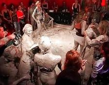 Horny Girls Mud Wrestling