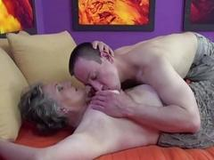 Chubby granny gets banged on..