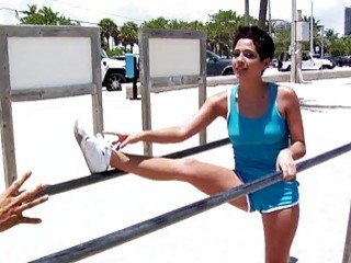 Sport latina Abby in stretch..