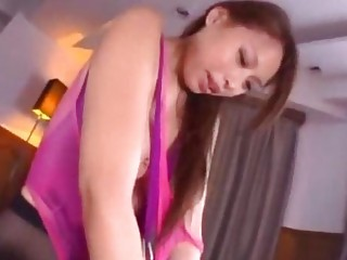 Asian girl in pantyhose and swimsuit handcuffed jelly on body fucked getting facial on the bed | Porn-Update.com
