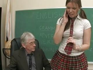 Brunette Teenage Slut Nipples Her Mature Teacher For Good Grades