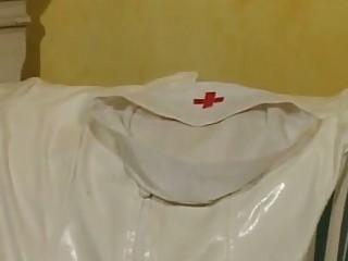 Brunette nurse gets a dick..