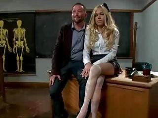 busty blonde tranny anal fucks teacher