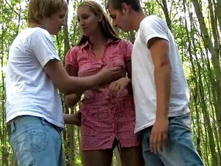 Thin Teenage Whore And Horny Pervert Fuck In The Woods