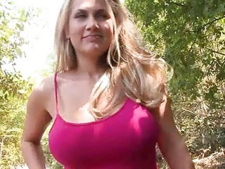 Blond Baby With Giant Tits Plowing In The Woods