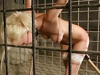 beautiful blonde getting bondaged