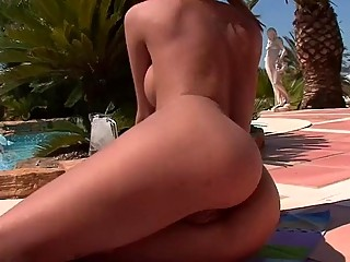cindy hope spends a hot day by the pool
