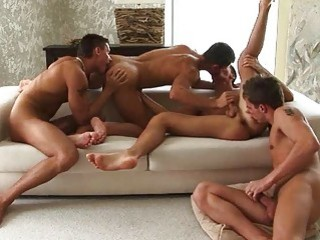 Four Look Good Cheerful Boys With Wild Group Sex