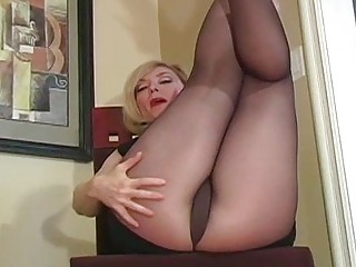 Hot Close-Up Show Of Hairy Vagina And Legs In Hose