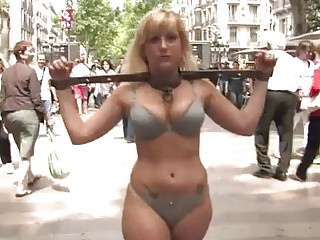 Stunning bitch is humiliated sexually in public