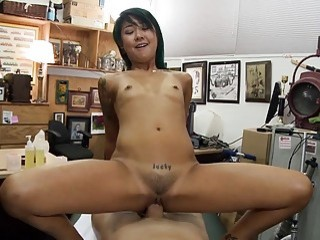 Tight Asian girl pounded at the pawnshop