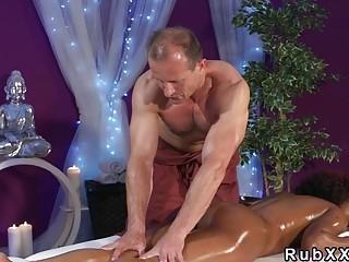 Perfect butt ebony gets interracial massage