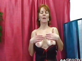 Horny Granny With Hot Natural Tits Gives Blowjob And Gets Pussy Knocked On Sofa