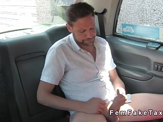 Female fake taxi driver deep throats in her cab