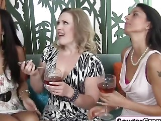 Three drunk cougars seduced hot stud in foursome | Porn-Update.com