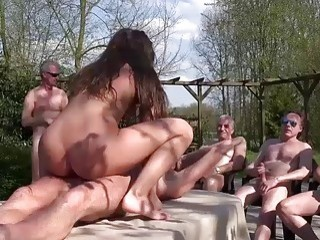 Stupid Young Slut Loves To Fuck With Old Ones In The Backyard