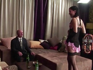 A Young Teenager And Horny Old Businessmen Have Hardcore Group Sex