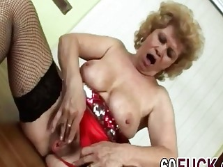 Big Hairy Pussy Grandma Masturbates While Getting Ready To Ride A Cock With A Young Member