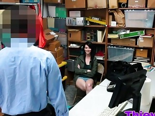Nasty Brunette Brunette Thief With Good Breasts Gets Her Pussy Hit Hard