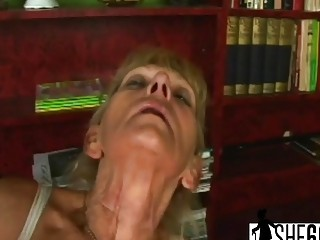Brunette Blonde Mature Woman Trains Her Hairy Pussy Before Takes A Hard Cock Inside