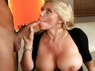 horny blonde momma with massive jugs doing deep throat