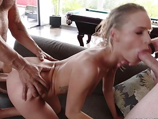 Hot Blonde Emma Is Ruined By Two Neighbors