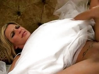 gorgeous blonde bride gets her beaver rammed hard