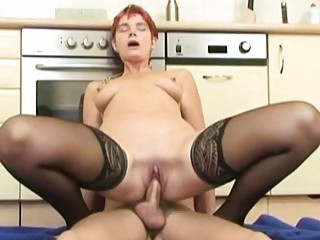 A Tiny German Mature Woman In Stockings Fucking In The Kitchen