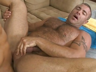 A Black Guy Gets His Shaved Dick Rubbed And Stroked